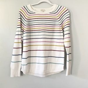 Talbots White Rainbow Striped Cotton Sweater MP